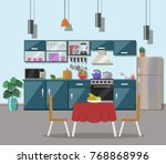 kitchen interior  with table ... | Shutterstock .eps vector #768868996