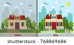 House Before And After Repair...
