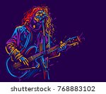 musician with a guitar. rock... | Shutterstock .eps vector #768883102