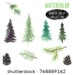 collection of hand painted... | Shutterstock . vector #768889162