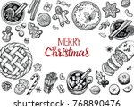 christmas pastries and... | Shutterstock .eps vector #768890476