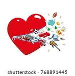 open heart with a zipper from... | Shutterstock .eps vector #768891445
