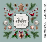 christmas greeting card with ... | Shutterstock .eps vector #768895822