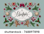 christmas greeting card with ... | Shutterstock .eps vector #768897898