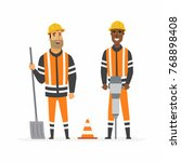 road construction workers  ... | Shutterstock .eps vector #768898408