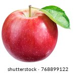 ripe red apple with leaf. file... | Shutterstock . vector #768899122