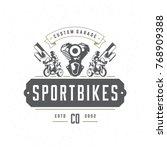 sport motorcycle logo template... | Shutterstock .eps vector #768909388