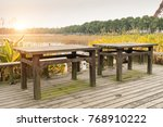 picnic table in a picturesque... | Shutterstock . vector #768910222