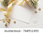 mockup christmas greeting card...   Shutterstock . vector #768911392