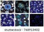 vector seamless pattern flowers ... | Shutterstock .eps vector #768913402