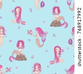 cute little mermaid girls... | Shutterstock .eps vector #768917992
