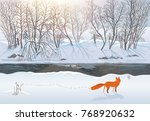 winter forest with a fox that... | Shutterstock . vector #768920632