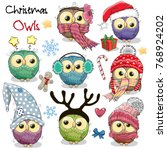 Stock vector set of cute cartoon christmas owls on a white background 768924202