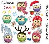 set of cute cartoon christmas... | Shutterstock .eps vector #768924202