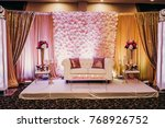 white couch decorated with... | Shutterstock . vector #768926752
