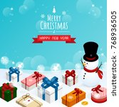 merry christmas and happy new... | Shutterstock .eps vector #768936505