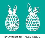 set of happy easter eggs with... | Shutterstock .eps vector #768943072
