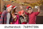 a group of friends are taking... | Shutterstock . vector #768947386