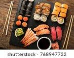 sushi set nigiri  sushi rolls...   Shutterstock . vector #768947722
