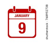 9 january calendar red icon | Shutterstock .eps vector #768952738