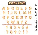 illustrated pizza vector font... | Shutterstock .eps vector #768955912