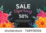 sale banner with colors flowers ... | Shutterstock .eps vector #768958306