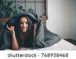 young beautiful  woman waking... | Shutterstock . vector #768958468
