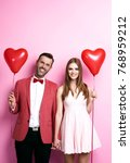 affectionate couple with heart... | Shutterstock . vector #768959212