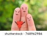 fingers art of happy family. | Shutterstock . vector #768962986