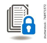 files lock icon vector. cyber... | Shutterstock .eps vector #768971572