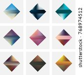 set of nine vector colorful... | Shutterstock .eps vector #768974512