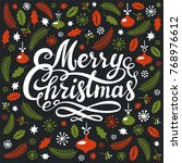christmas greeting card with... | Shutterstock .eps vector #768976612
