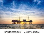 hdr offshore oil platform at... | Shutterstock . vector #768981052