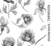 peony and iris flowers. grey... | Shutterstock . vector #768983356