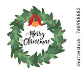 christmas wreath. vector image | Shutterstock .eps vector #768988882