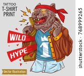 wild bear in clothes opens its...   Shutterstock .eps vector #768999265