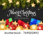 christmas best offer inscription | Shutterstock .eps vector #769002892
