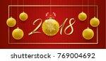happy new year 2018 banner... | Shutterstock .eps vector #769004692