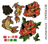 set of patches with embroidery... | Shutterstock .eps vector #769006138