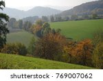 foggy autumn landscape with...   Shutterstock . vector #769007062