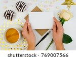 girl is holding a romantic... | Shutterstock . vector #769007566