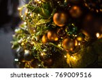 fir branch with balls and... | Shutterstock . vector #769009516
