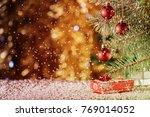 red christmas balls on blurred... | Shutterstock . vector #769014052