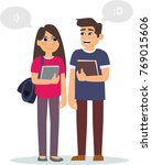 couple of students. the guy and ... | Shutterstock .eps vector #769015606