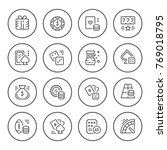 set round line icons of gambling | Shutterstock .eps vector #769018795