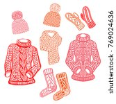 warm winter knitted accessories ... | Shutterstock .eps vector #769024636