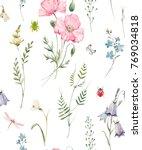 gentle watercolor floral... | Shutterstock . vector #769034818