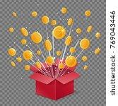 unboxing present gift surprise... | Shutterstock .eps vector #769043446
