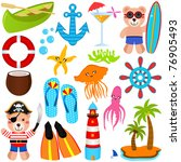 vector of summer cartoon  ... | Shutterstock .eps vector #76905493