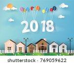vector illustration. paper art... | Shutterstock .eps vector #769059622